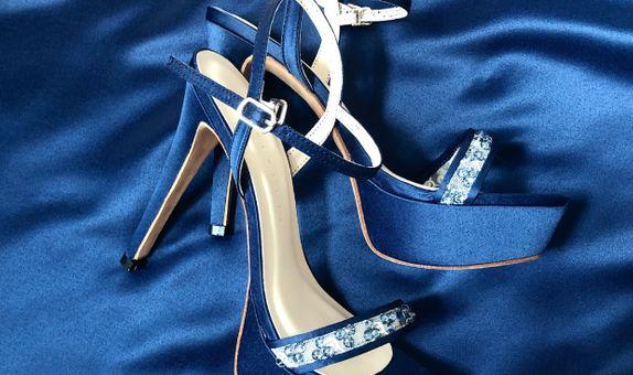 FLEUR - NAVY BLUE - 11cm - Wedding Shoes - Bride Shoes - Party Shoes