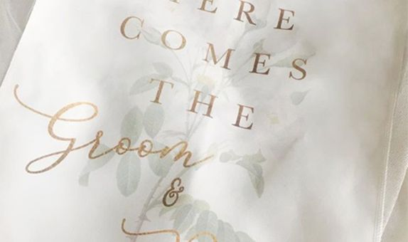 Here Comes the Groom and Bride Wedding Flag