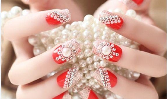 nail art - 24 pcs kuku palsu merah merona dan hiasan permata