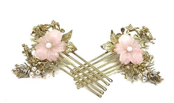 EPABRIDAL Rose Quartz Flower Wedding Accessories