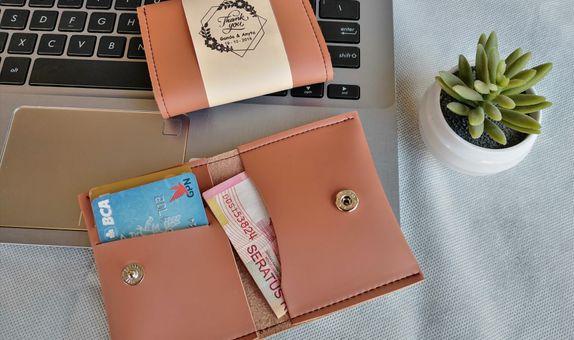 Souvenir pernikahan dompet kartu card holder kulit asli imitasi