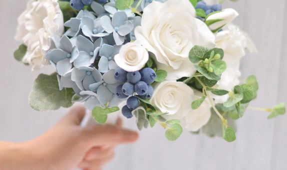 Dusty Blue and White Hand Bouquet