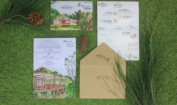 Intimate Wedding Invitation with RSVP (Folded Type)