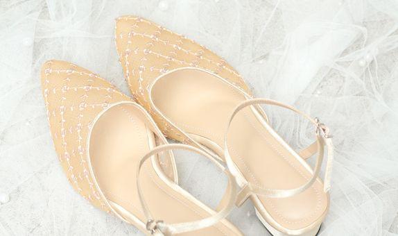 Sofia Block Heel Shoes Gold