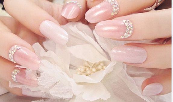 nail art - 24 pcs kuku palsu warna pink milky dan taburan permata