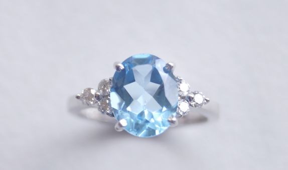 Crystals Jewelry - White Gold Blue Stone