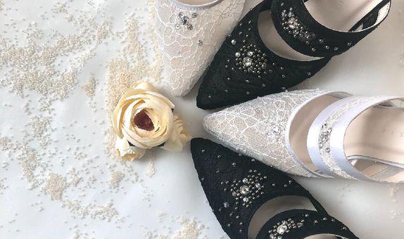 LUCIA - BLACK/WHITE - 9cm - Wedding Shoes - Bride Shoes - Party Shoes