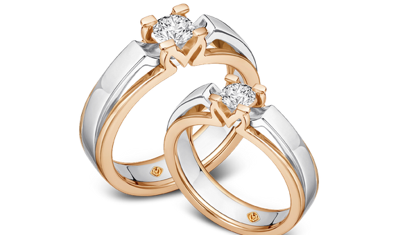 DP MOIRA TWO-TONE DIAMOND WEDDING RING (BRIDE'S RING)