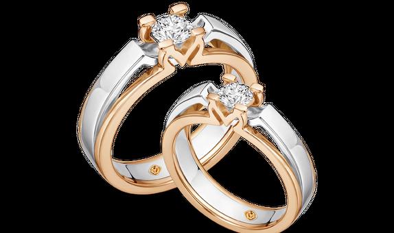 DP MOIRA TWO-TONE DIAMOND WEDDING RING (GROOM'S RING)