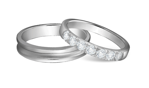 DP TENNIS COLLECTION DIAMOND WEDDING RING FORGET ME NOT (1 PAIR)