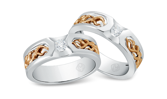 DP TEX SAVERIO FIRE COLLECTION DIAMOND WEDDING RING (BRIDE'S RING)