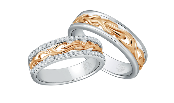 DP TEX SAVERIO FIRE COLLECTION DIAMOND WEDDING RING (1 PAIR)
