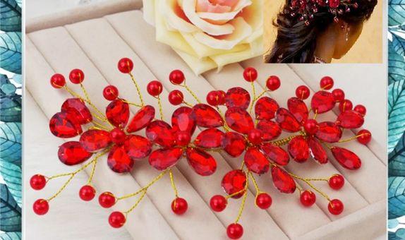 hiasan rambut pengantin kristal bunga merah bridesmaid wanita HHPBM