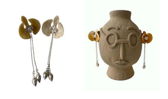 Tri Start Orchid Silver Earrings