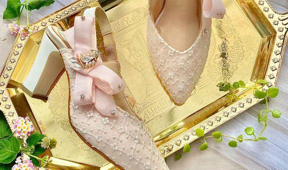 Jillian Blush Pink Block Heels 8cm
