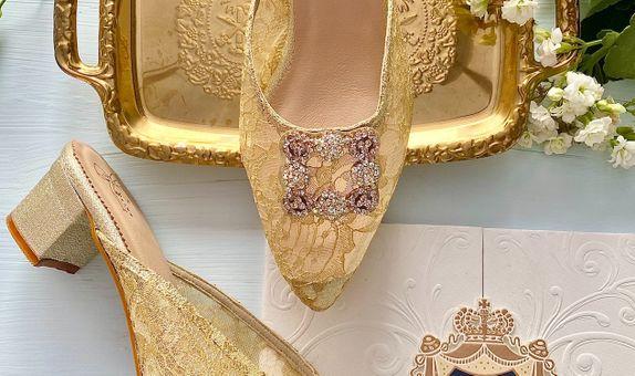 Noelle Gold Party Shoes Women Block Heels 5cm