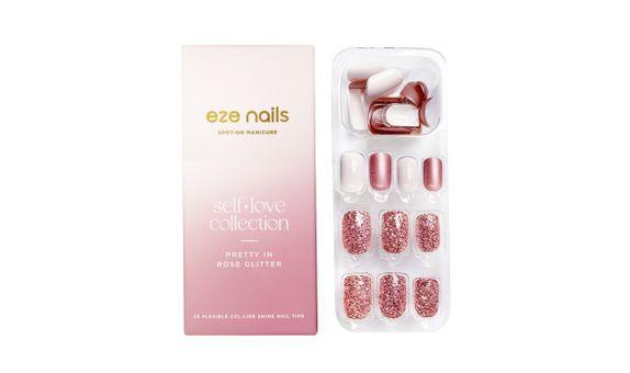 Eze Nails - Pretty In Rose Glitter Spot On Manicure
