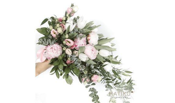 Spring Peonies Cascade Bridal Bouquet