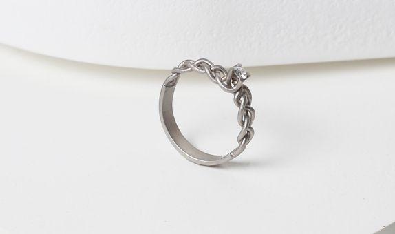 Surowmith White braided diamond ring doff - silver