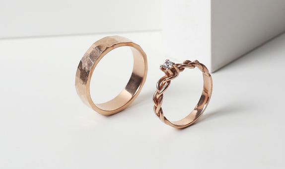 Surosmith Rosegold Glossy Braided and Hammered Ring - Silver