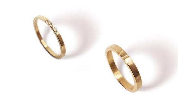 Subtle Initial - Wedding Ring Set (Yellow)