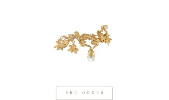 Wanita - Brooch with Rose Quartz Gold Dip