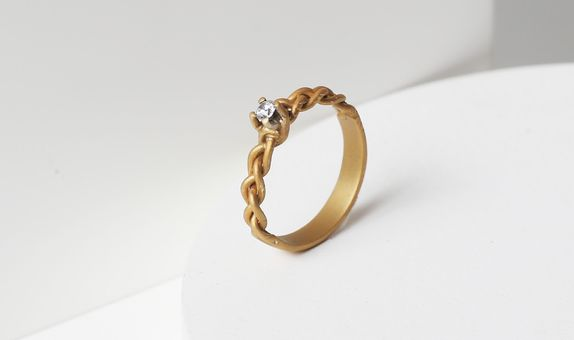 Surosmith Gold Braided Diamond Ring Doff Finishing - Silver