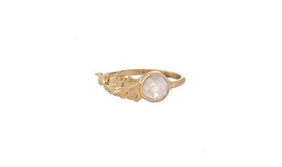 Forgotten Garden Hawa Ring Rainbow Moonstone Gold Dip