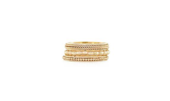 Heritage Rings Set of 3 Gold Dip