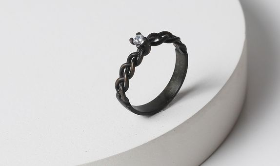 Surosmith Black braided diamond ring doff - silver