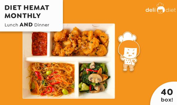 DeliDiet Paket MONTHLY Lunch AND Dinner (40 box-20days)