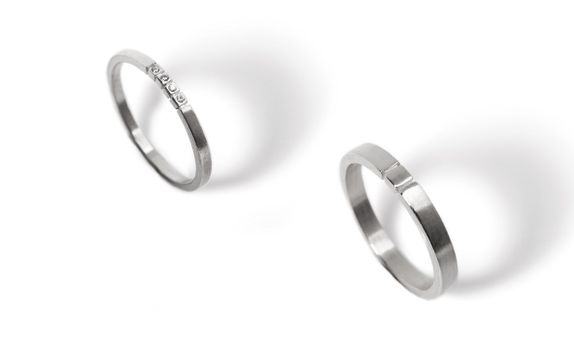 Subtle Initial - Wedding Ring Set (White)