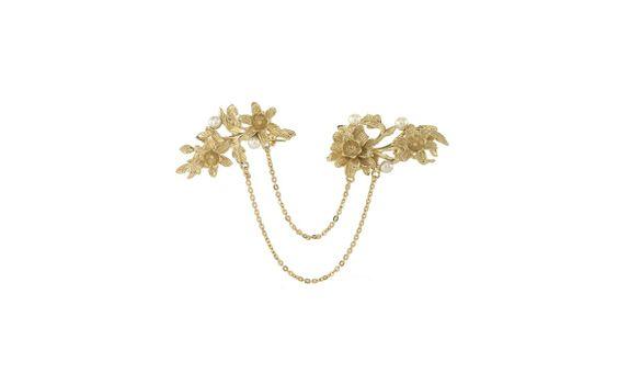Melati Pearl Double Pin Gold Dip