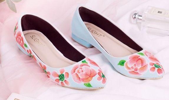 Sepatu Flats Lukis Blossom Biru