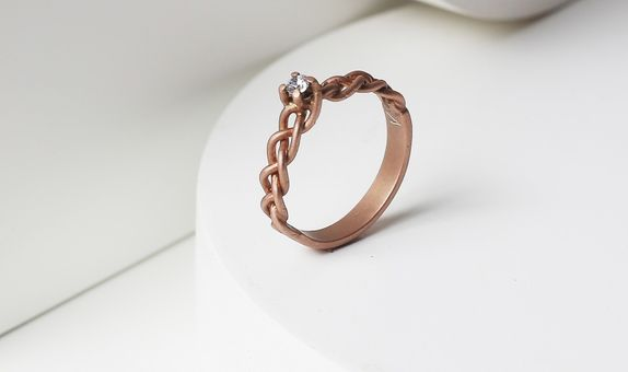 Surosmith Rosegold braided diamond ring doff - silver