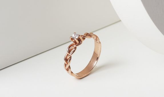 Surosmith Rosegold Braded DIamond Ring Glossy - Silver