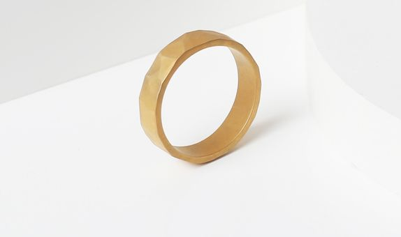 Surosmith Gold Hammered Ring Doff - Silver