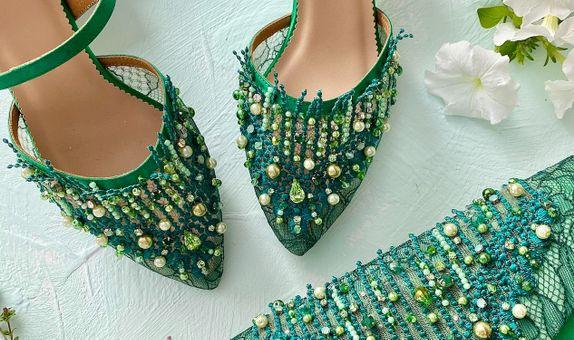 Rosetta Matching Set Emerald Stiletto / Block Heels & Clutch