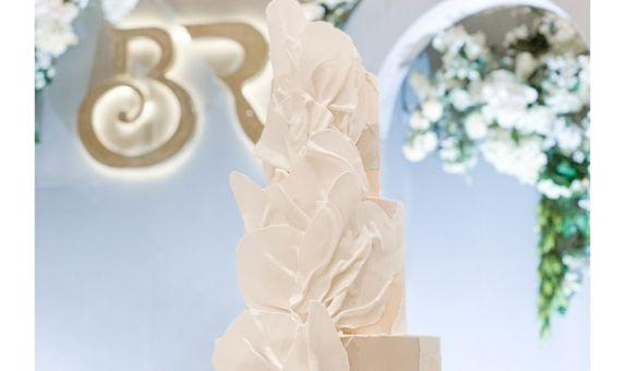 3 Tiered Wedding Cake - Edible Fabric Drape