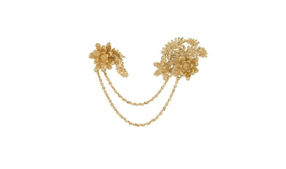 Ferns and Flowers Double Pin Gold Dip