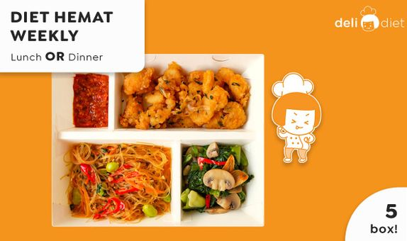 DeliDiet Paket WEEKLY Lunch OR Dinner (5 box-5 days) Katering Program