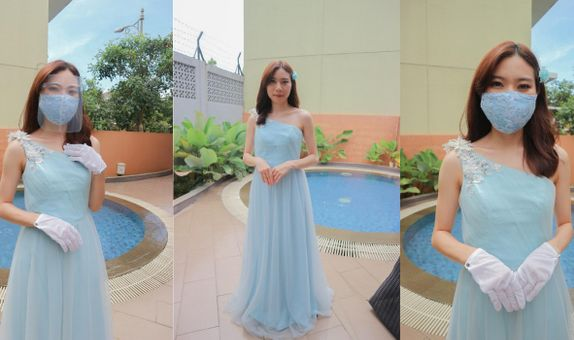 Baby Blue One Shoulder Gown Rent