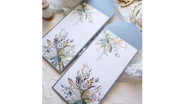 Angpao/Hongbao Premium Dusty Blue Flower