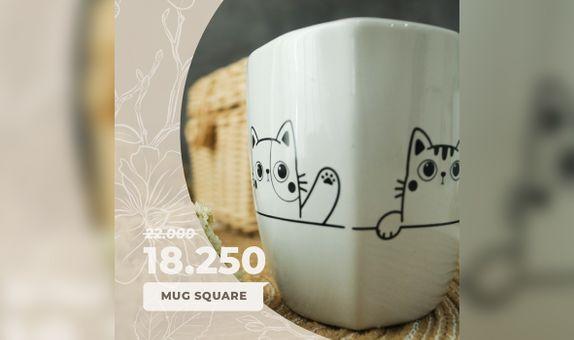 SPECIAL PROMO! Mug Square Include Box Sticker + Thank You card