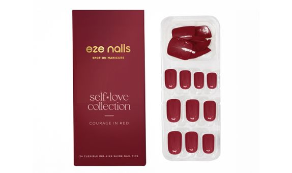 Eze Nails - Courage In Red Spot On Manicure