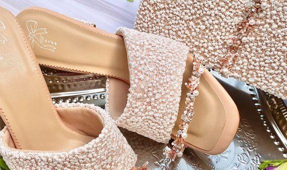 Matching Set Nude Block Heels 7.5cm & Clutch