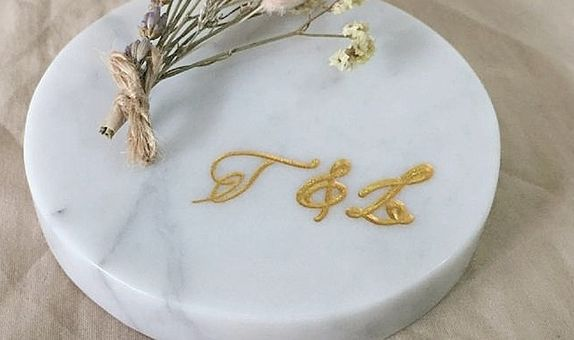 Engraved Marble for Wedding Decoration