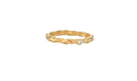 Vintage Celuk White Crystal Ring Gold Dip