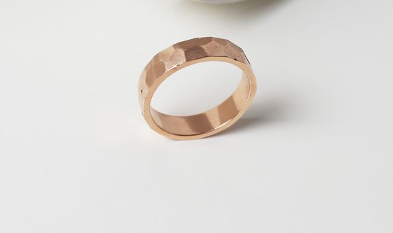 Surosmith Rosegold Hammered Ring Glossy - Silver