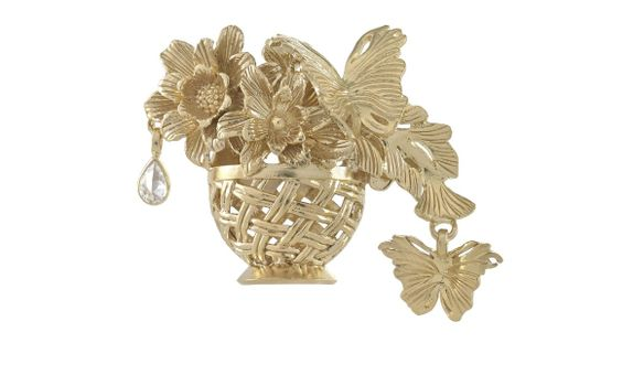 Butterflies and Dew Drop Brooch Gold Dip
